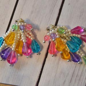 massive 1980's rainbow pearl earrings